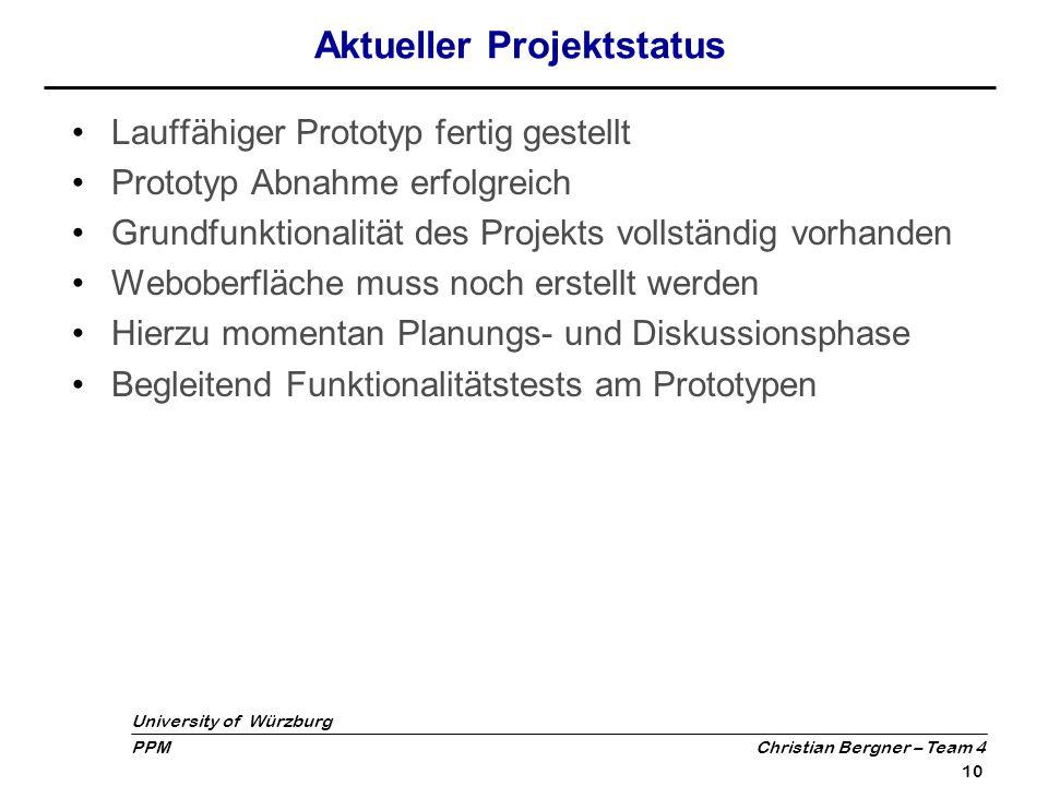 Aktueller Projektstatus