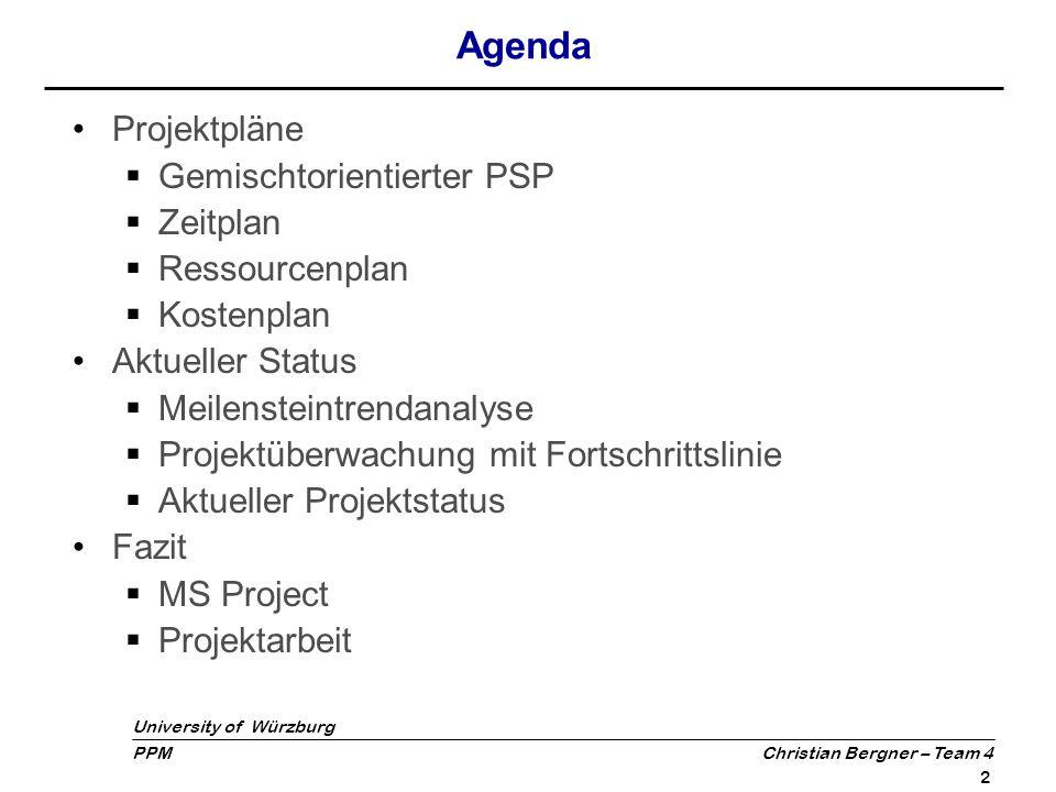 Agenda Projektpläne Gemischtorientierter PSP Zeitplan Ressourcenplan