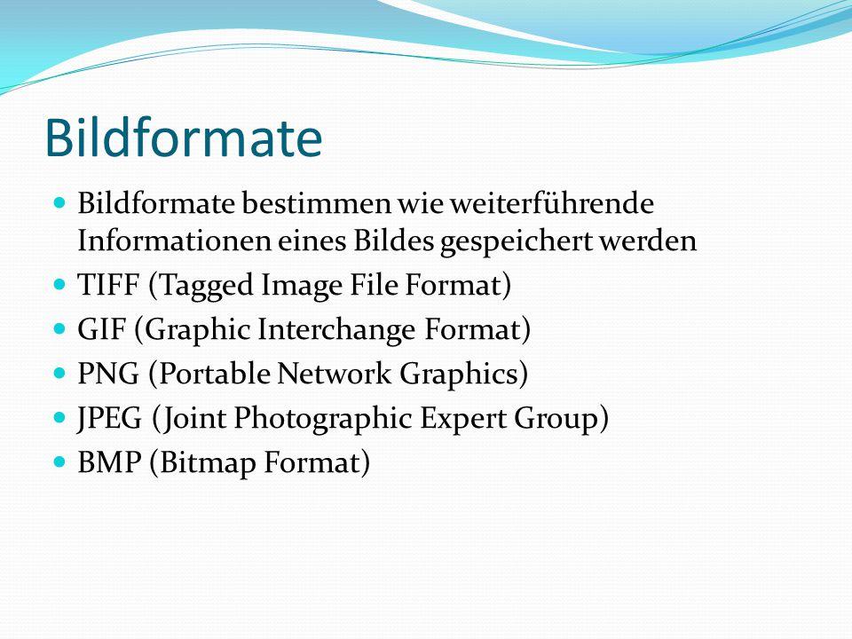 Bildformate Bildformate bestimmen wie weiterführende Informationen eines Bildes gespeichert werden.