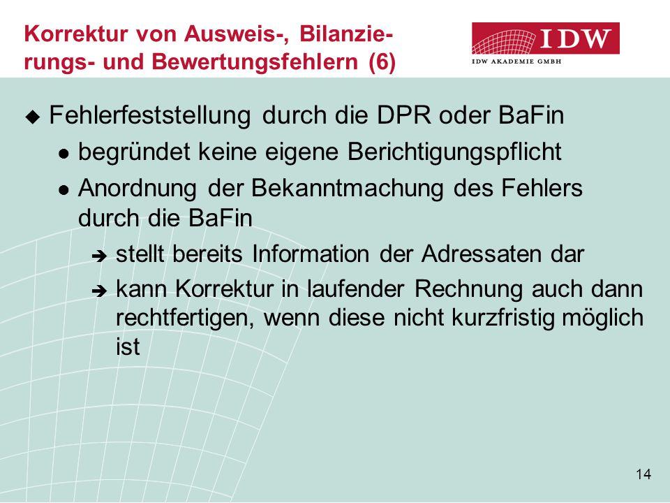 Korrektur von Ausweis-, Bilanzie-rungs- und Bewertungsfehlern (6)