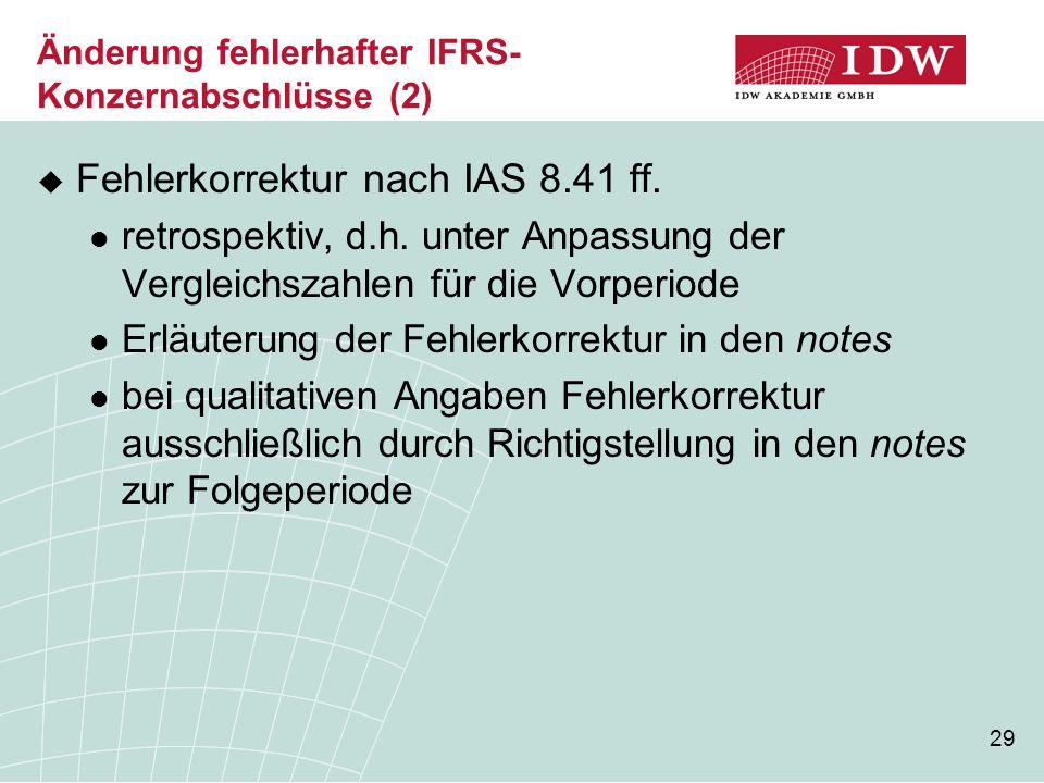 Änderung fehlerhafter IFRS-Konzernabschlüsse (2)
