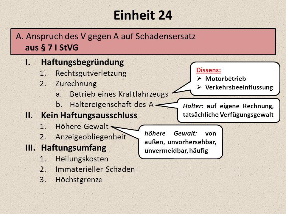 Einheit 24 A. Anspruch des V gegen A auf Schadensersatz aus § 7 I StVG