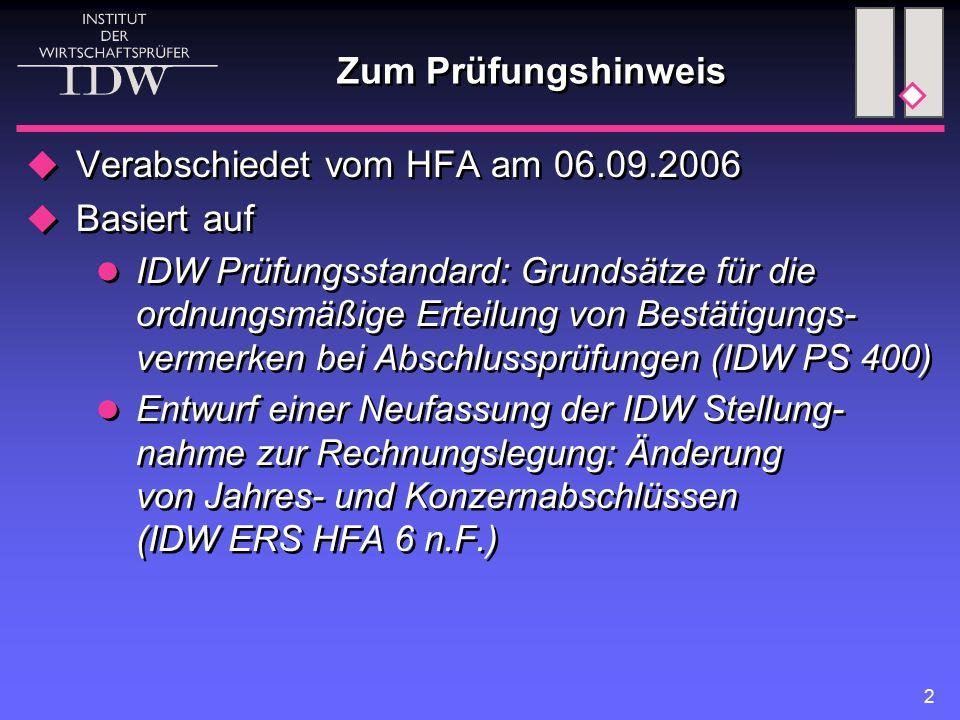 Verabschiedet vom HFA am 06.09.2006 Basiert auf