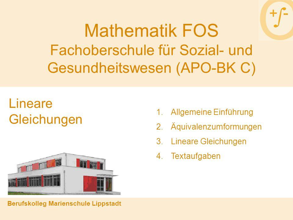 Mathematik FOS Fachoberschule für Sozial- und Gesundheitswesen (APO-BK C)