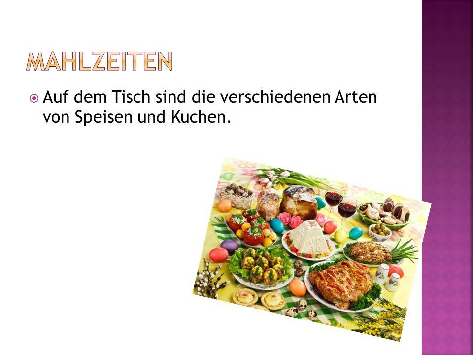 Mahlzeiten Auf dem Tisch sind die verschiedenen Arten von Speisen und Kuchen.