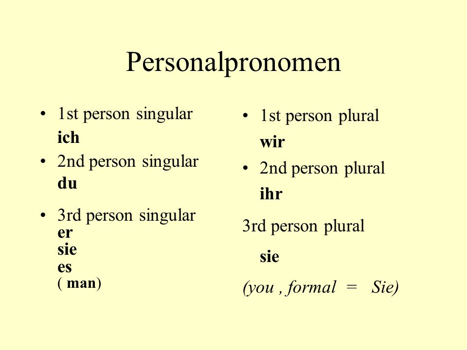 Personalpronomen 1st person singular ich 2nd person singular du