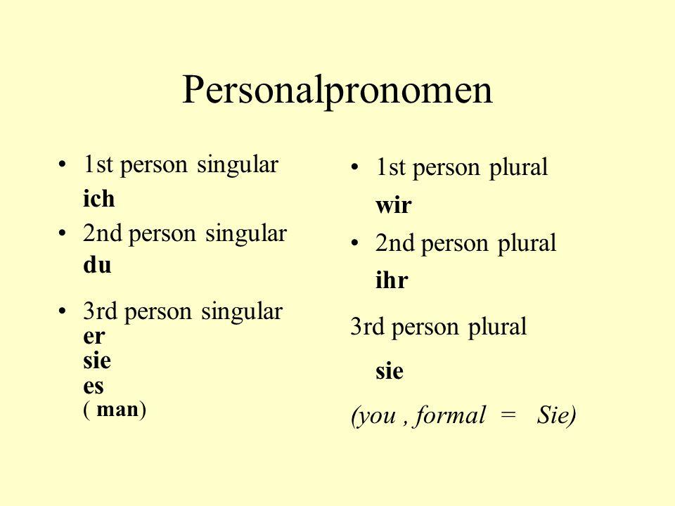 Personalpronomen 1st person singular ich 2nd person singular du