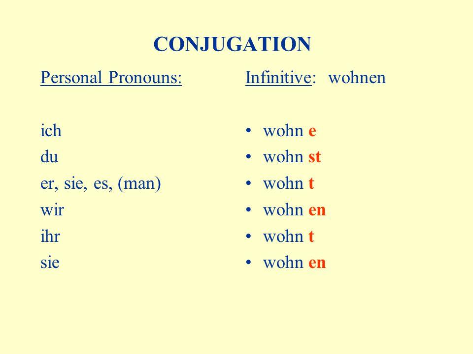 CONJUGATION Personal Pronouns: ich du er, sie, es, (man) wir ihr sie