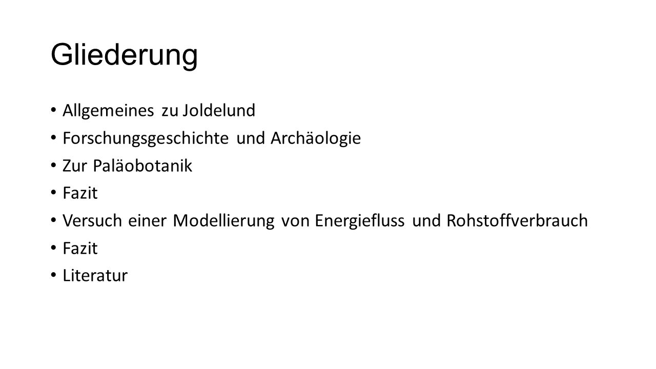 Gliederung Allgemeines zu Joldelund