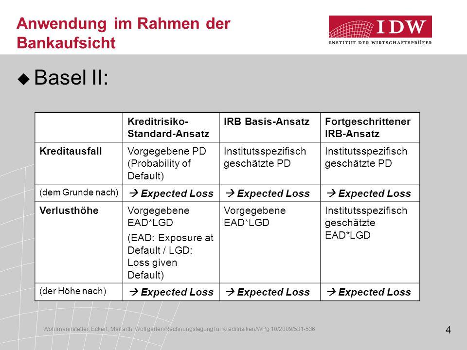 Anwendung im Rahmen der Bankaufsicht
