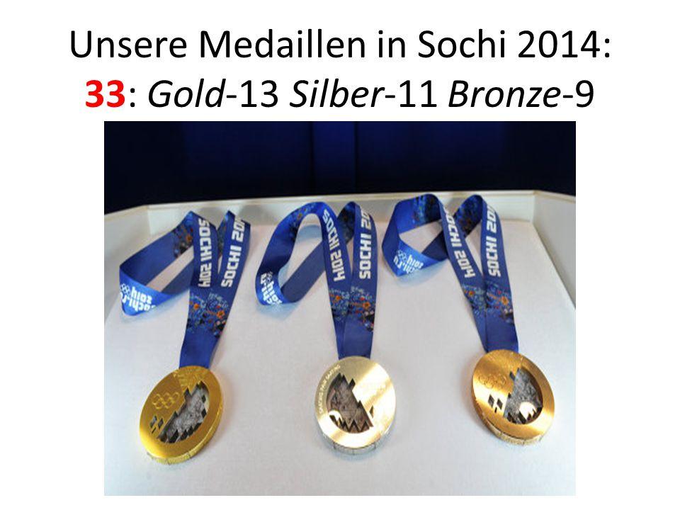 Unsere Medaillen in Sochi 2014: 33: Gold-13 Silber-11 Bronze-9