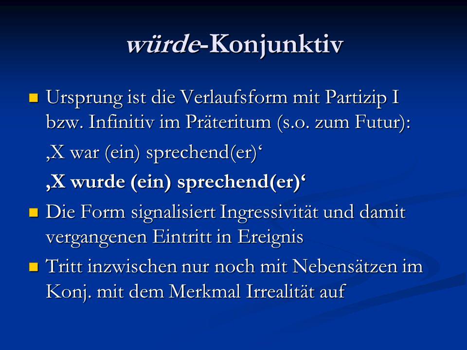 würde-Konjunktiv Ursprung ist die Verlaufsform mit Partizip I bzw. Infinitiv im Präteritum (s.o. zum Futur):