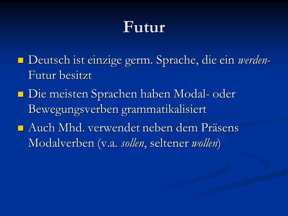 Futur Deutsch ist einzige germ. Sprache, die ein werden-Futur besitzt