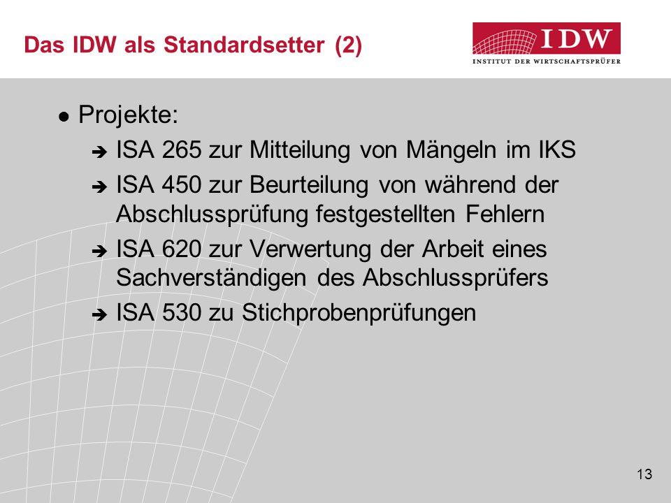 Das IDW als Standardsetter (2)