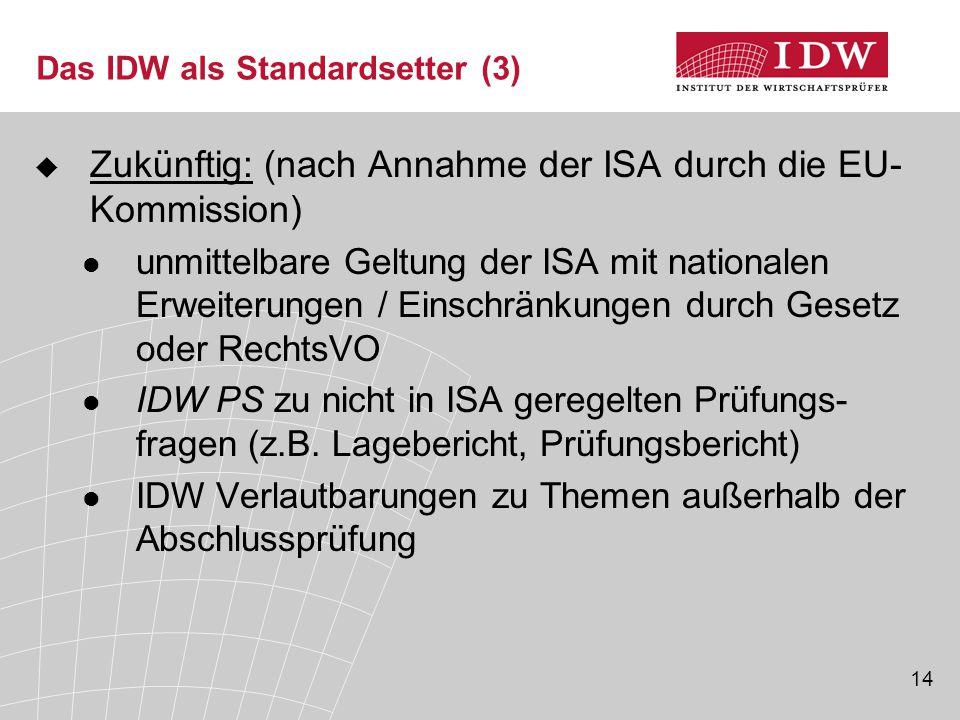 Das IDW als Standardsetter (3)