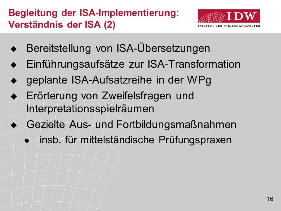 Begleitung der ISA-Implementierung: Verständnis der ISA (2)
