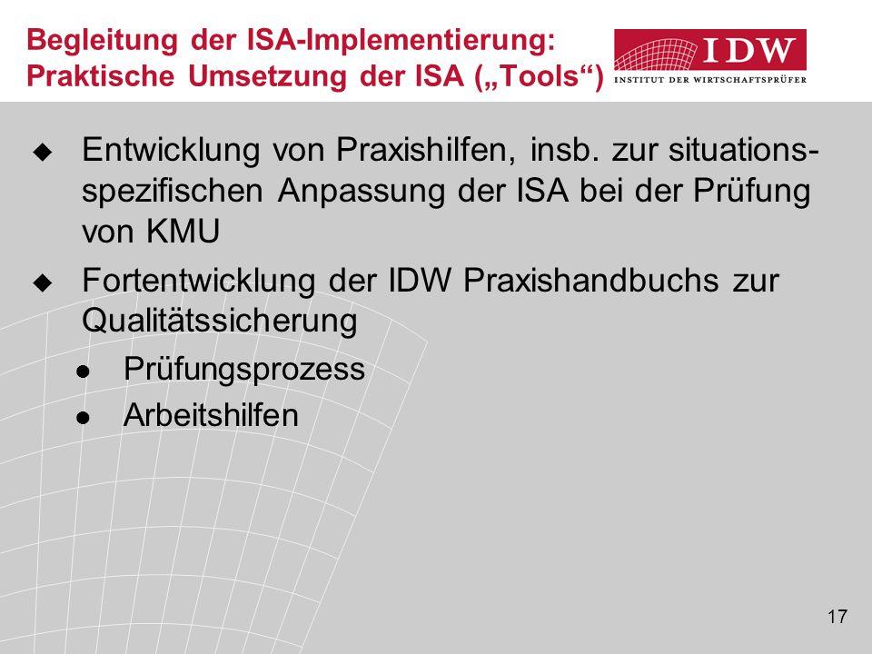 Fortentwicklung der IDW Praxishandbuchs zur Qualitätssicherung