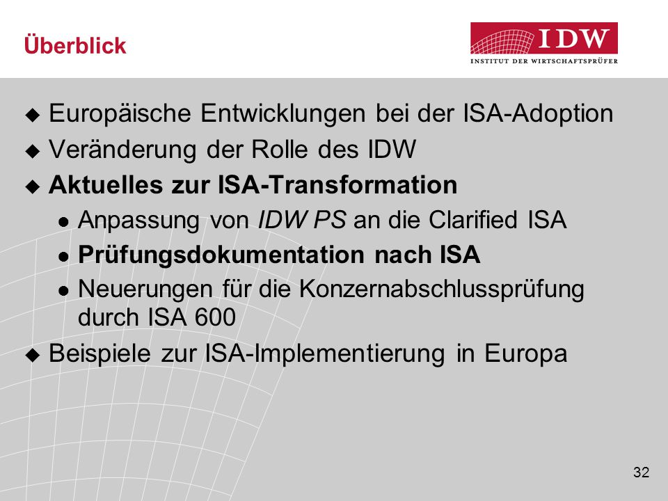 Europäische Entwicklungen bei der ISA-Adoption