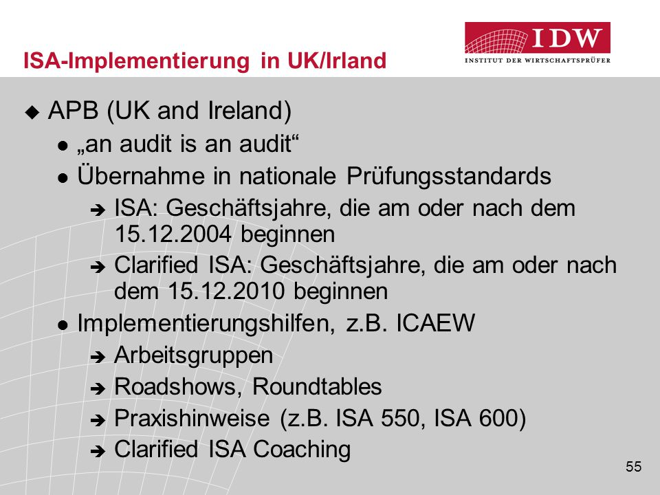 ISA-Implementierung in UK/Irland
