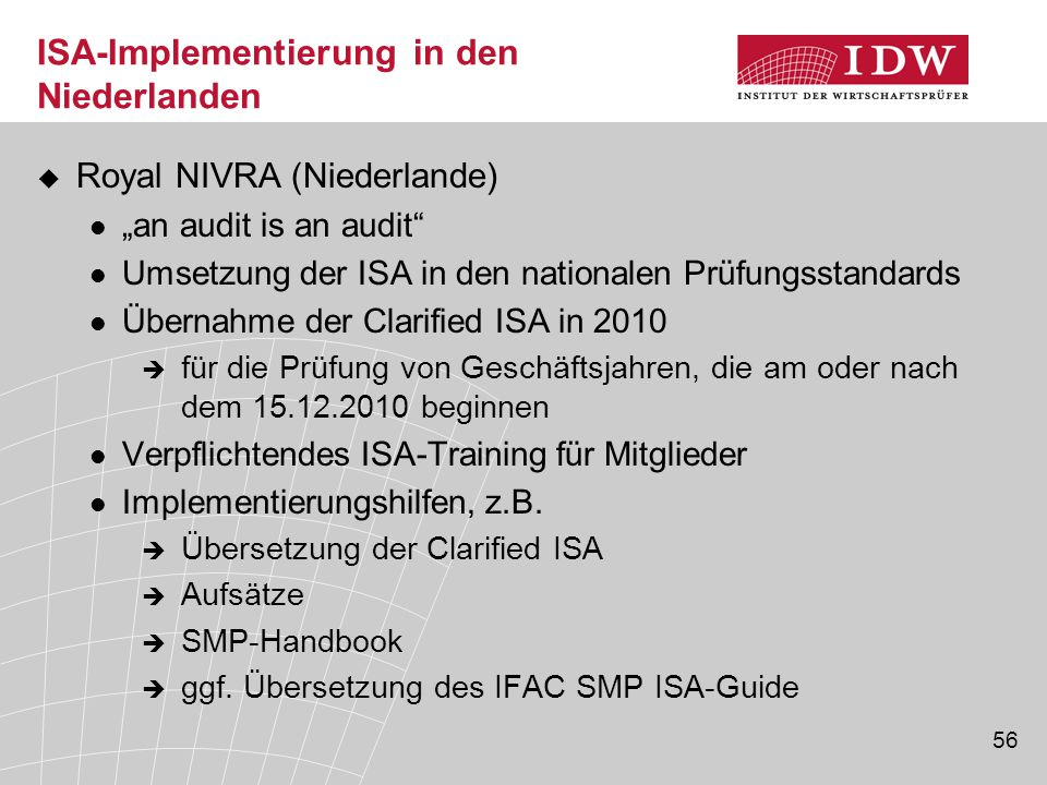 ISA-Implementierung in den Niederlanden
