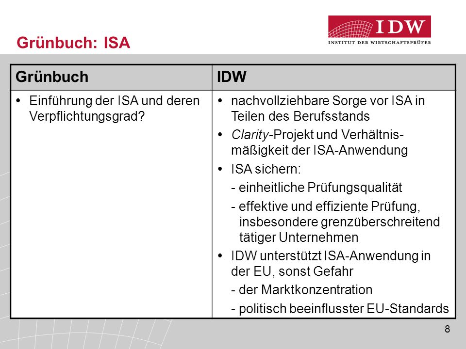 Grünbuch: ISA Grünbuch IDW