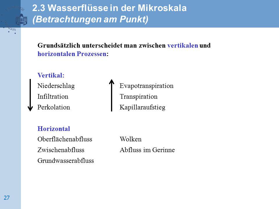2.3 Wasserflüsse in der Mikroskala (Betrachtungen am Punkt)