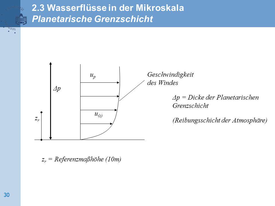 2.3 Wasserflüsse in der Mikroskala Planetarische Grenzschicht