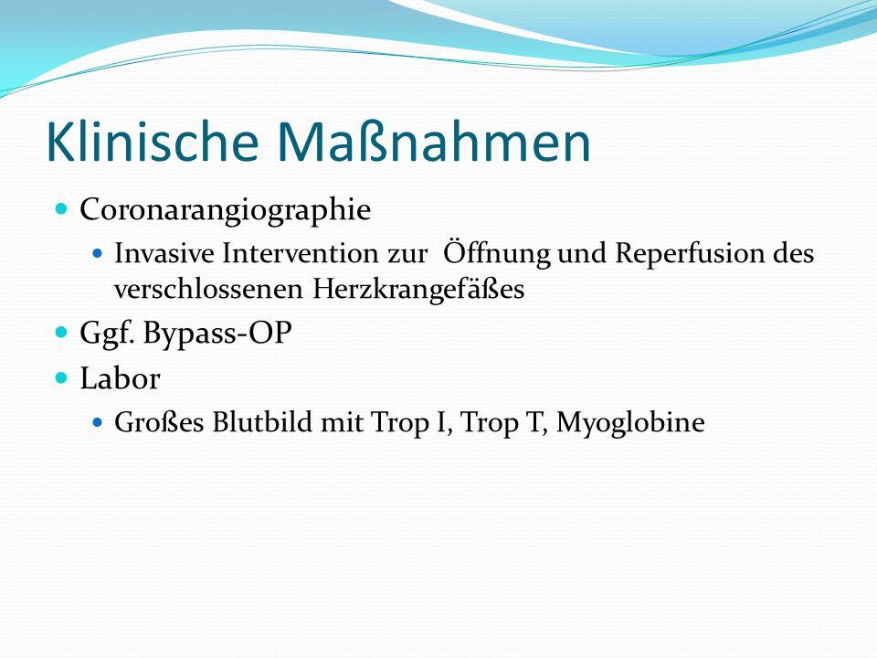 Klinische Maßnahmen Coronarangiographie Ggf. Bypass-OP Labor