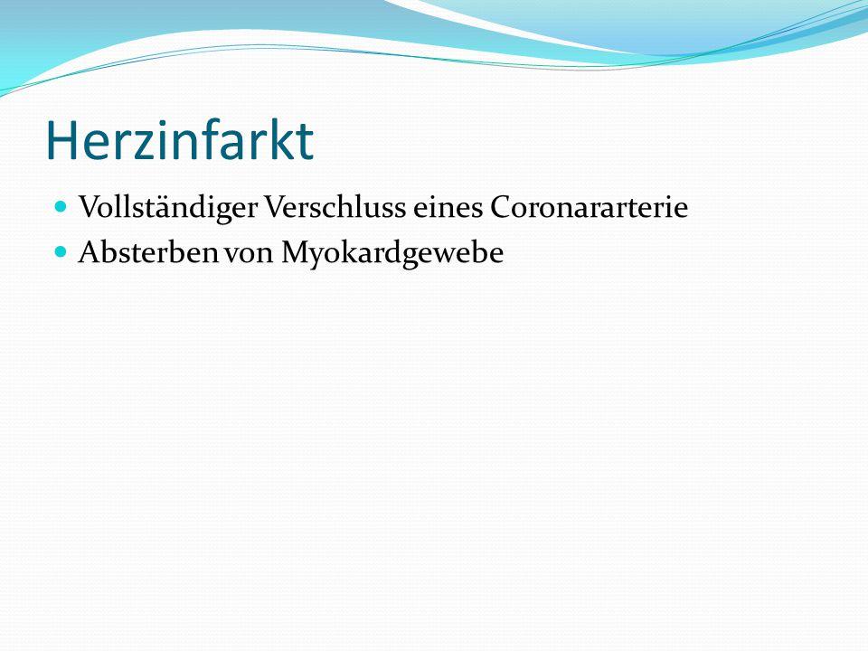 Herzinfarkt Vollständiger Verschluss eines Coronararterie