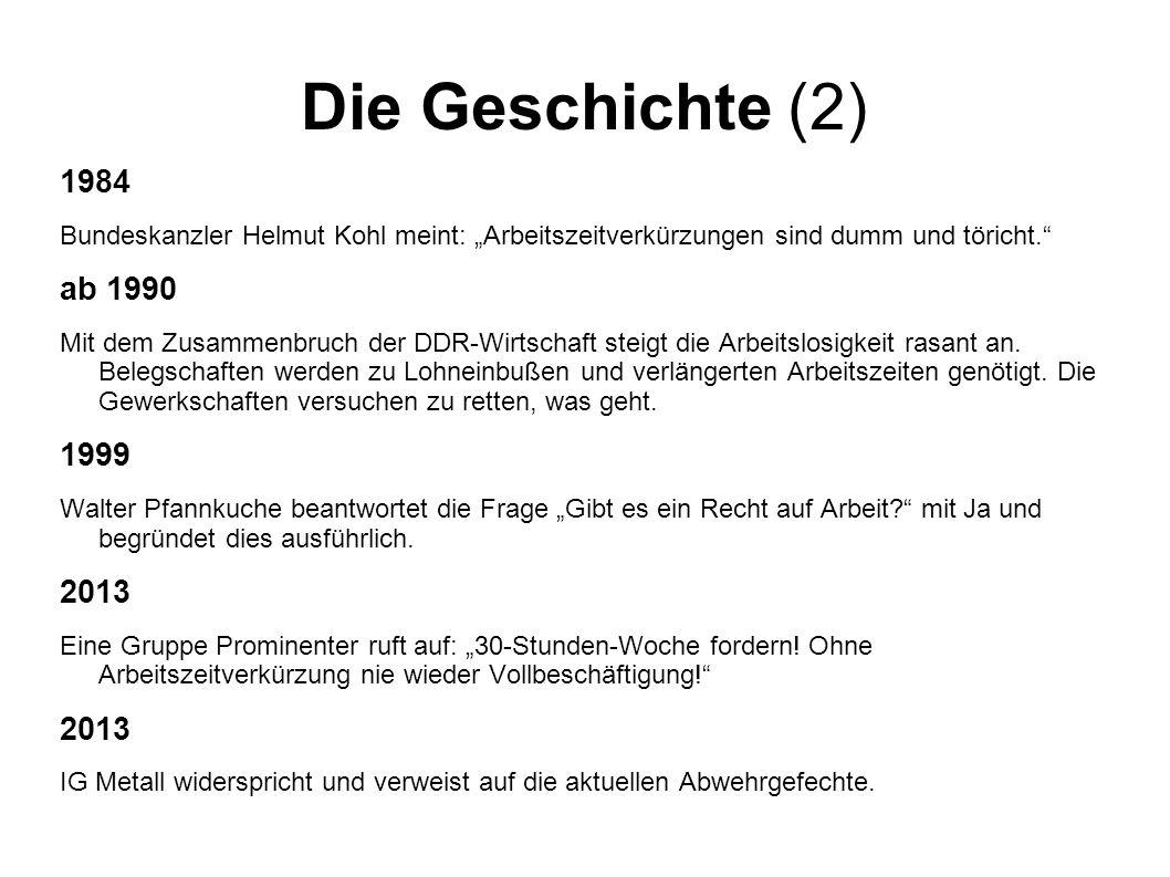 """Die Geschichte (2) 1984. Bundeskanzler Helmut Kohl meint: """"Arbeitszeitverkürzungen sind dumm und töricht."""