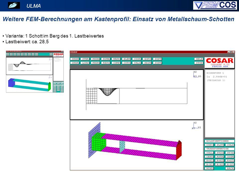 ULMA Weitere FEM-Berechnungen am Kastenprofil: Einsatz von Metallschaum-Schotten. Variante: 1 Schott im Berg des 1. Lastbeiwertes.