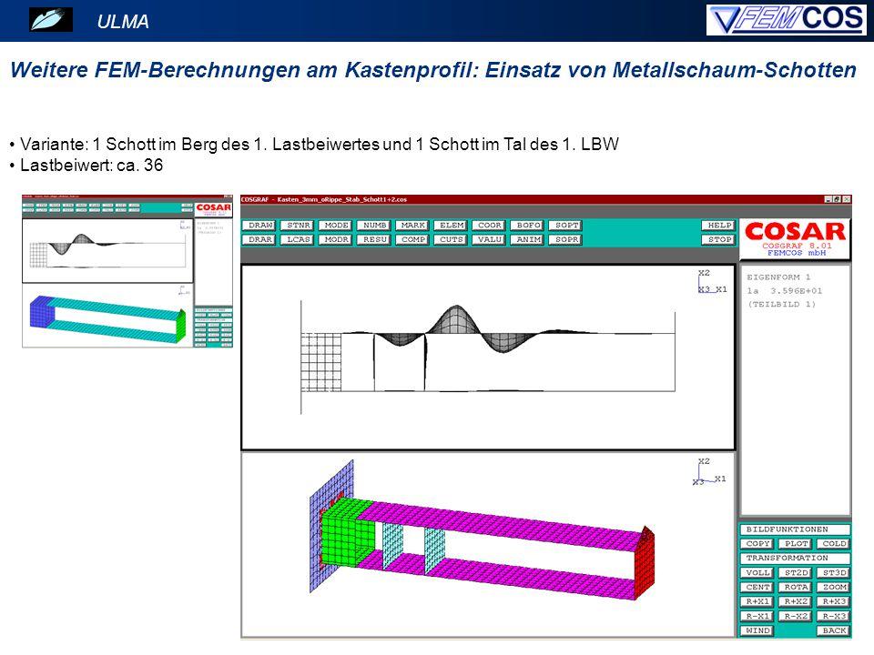 ULMA Weitere FEM-Berechnungen am Kastenprofil: Einsatz von Metallschaum-Schotten.