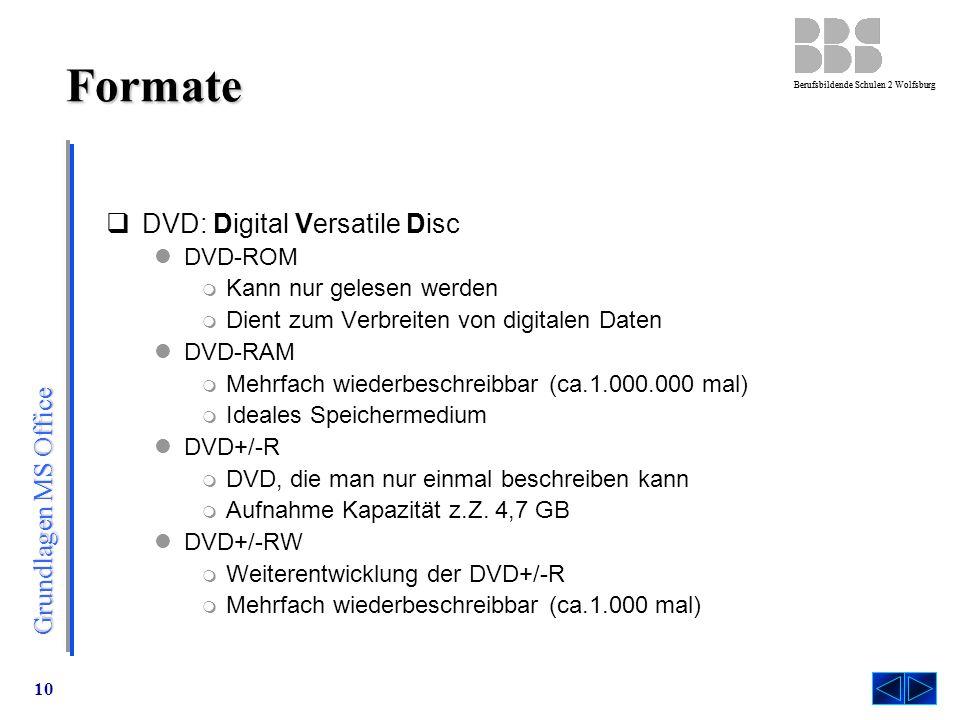 Formate DVD: Digital Versatile Disc DVD-ROM Kann nur gelesen werden