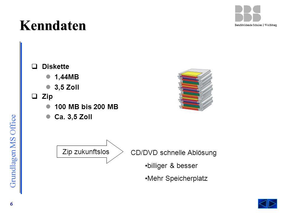 Kenndaten Diskette 1,44MB 3,5 Zoll Zip 100 MB bis 200 MB Ca. 3,5 Zoll