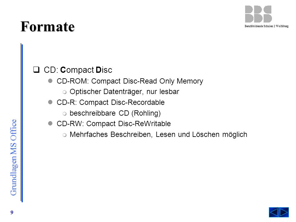 Formate CD: Compact Disc CD-ROM: Compact Disc-Read Only Memory