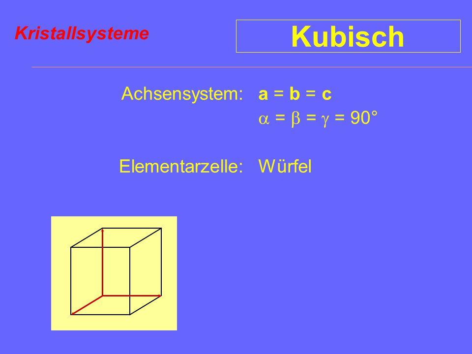 Kubisch Kristallsysteme Achsensystem: Elementarzelle: a = b = c