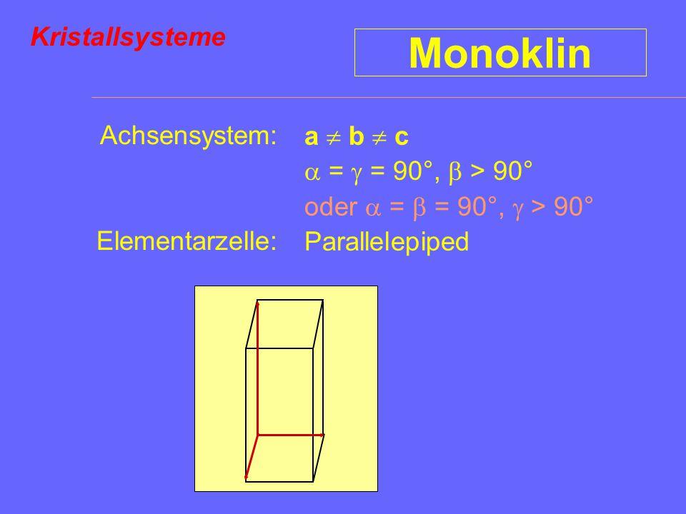 Monoklin Kristallsysteme Achsensystem: a  b  c