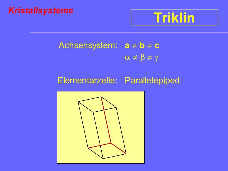 Triklin Kristallsysteme Achsensystem: Elementarzelle: a  b  c