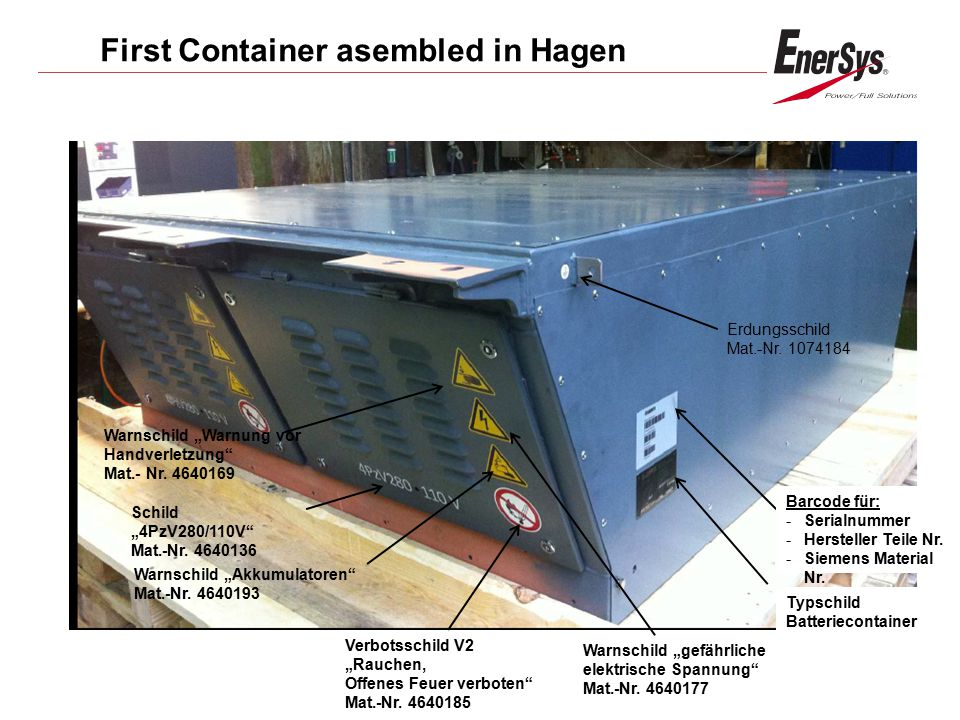 First Container asembled in Hagen