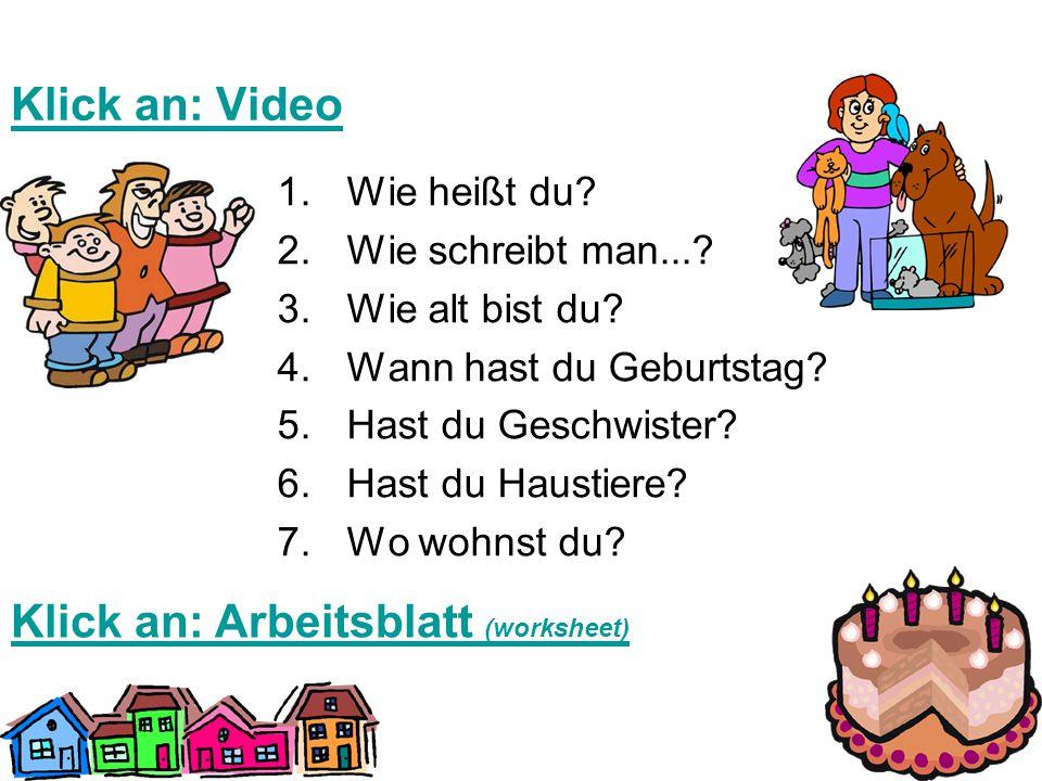 Klick an: Arbeitsblatt (worksheet)