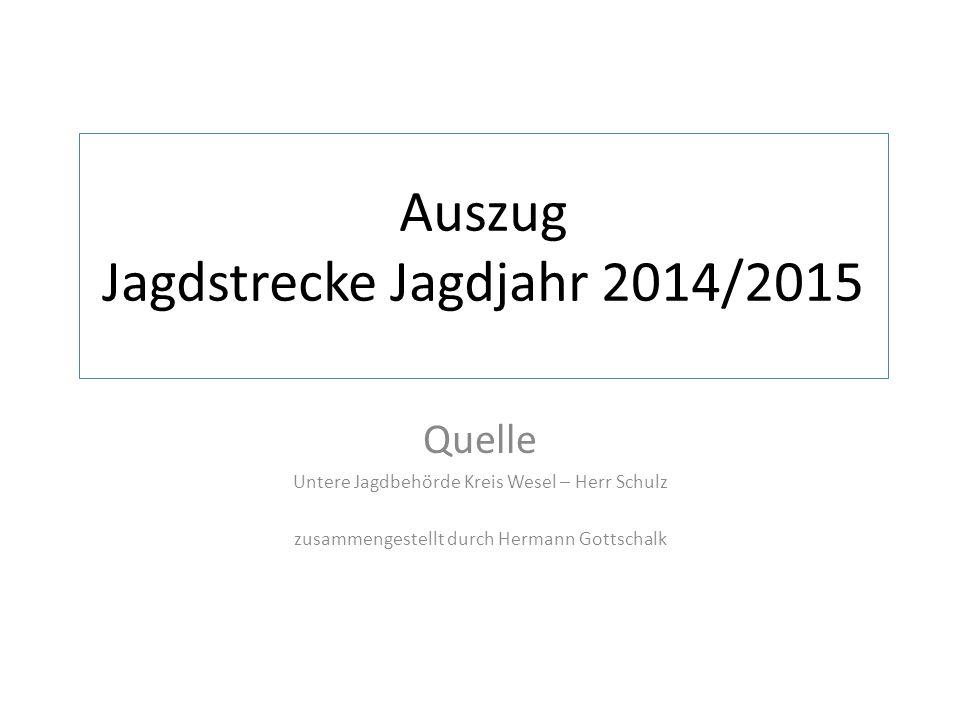 Auszug Jagdstrecke Jagdjahr 2014/2015