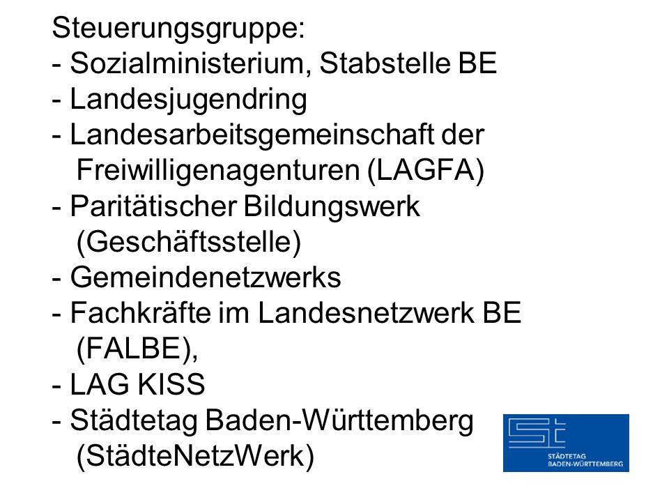 Steuerungsgruppe: - Sozialministerium, Stabstelle BE - Landesjugendring - Landesarbeitsgemeinschaft der Freiwilligenagenturen (LAGFA) - Paritätischer Bildungswerk (Geschäftsstelle) - Gemeindenetzwerks - Fachkräfte im Landesnetzwerk BE (FALBE), - LAG KISS - Städtetag Baden-Württemberg (StädteNetzWerk)