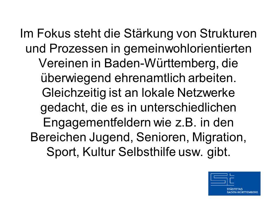 Im Fokus steht die Stärkung von Strukturen und Prozessen in gemeinwohlorientierten Vereinen in Baden-Württemberg, die überwiegend ehrenamtlich arbeiten.