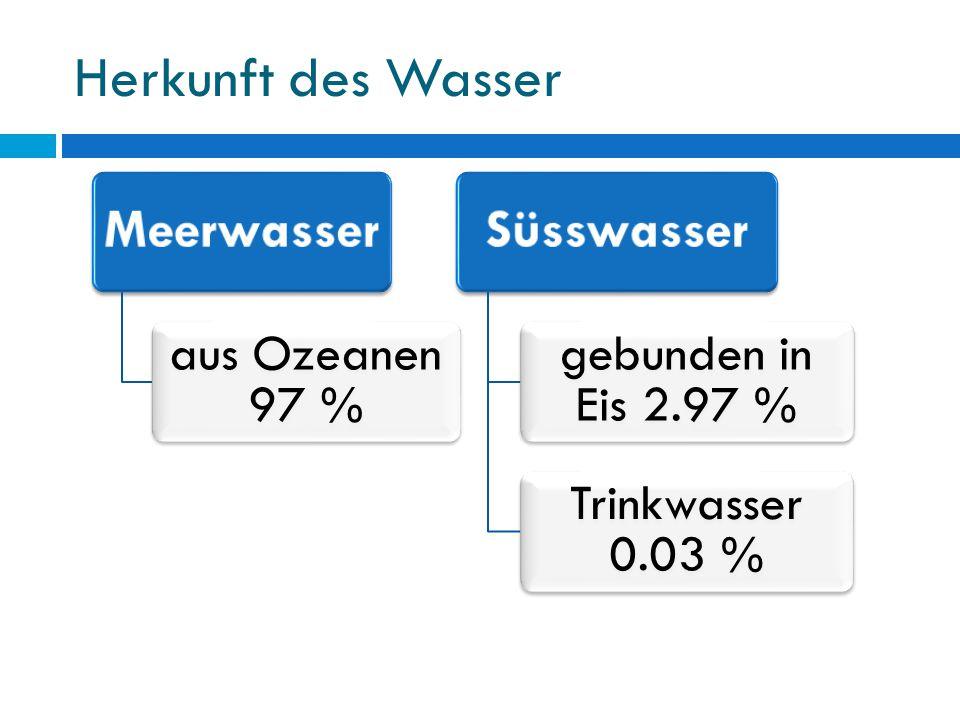 Herkunft des Wasser Meerwasser Süsswasser aus Ozeanen 97 %