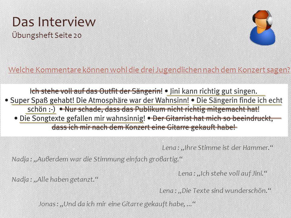Das Interview Übungsheft Seite 20