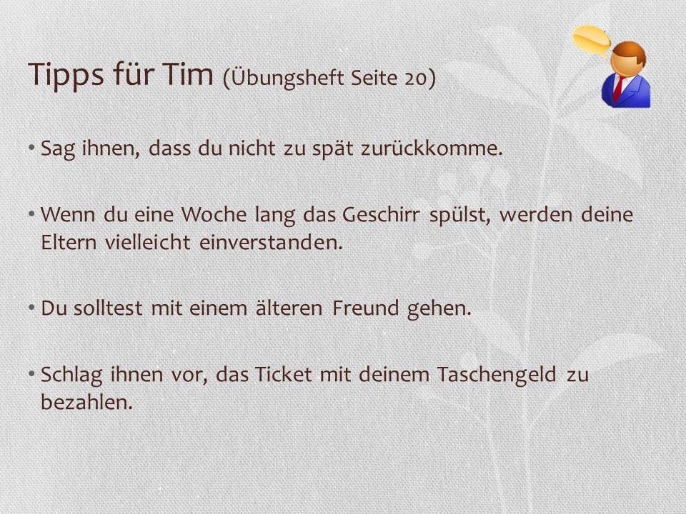Tipps für Tim (Übungsheft Seite 20)