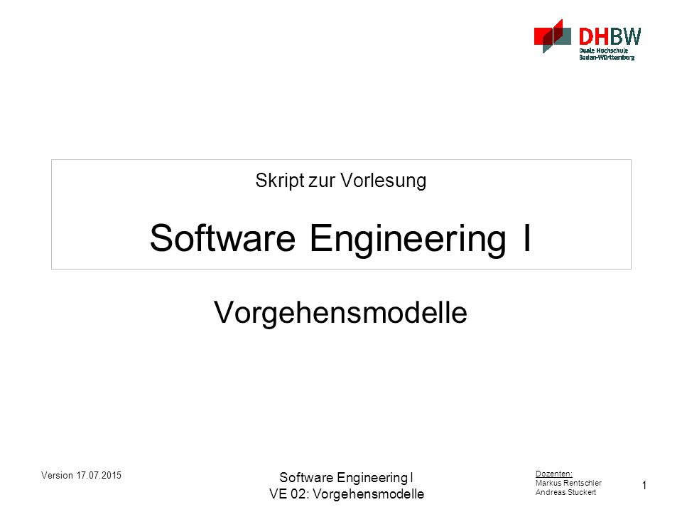 Skript zur Vorlesung Software Engineering I