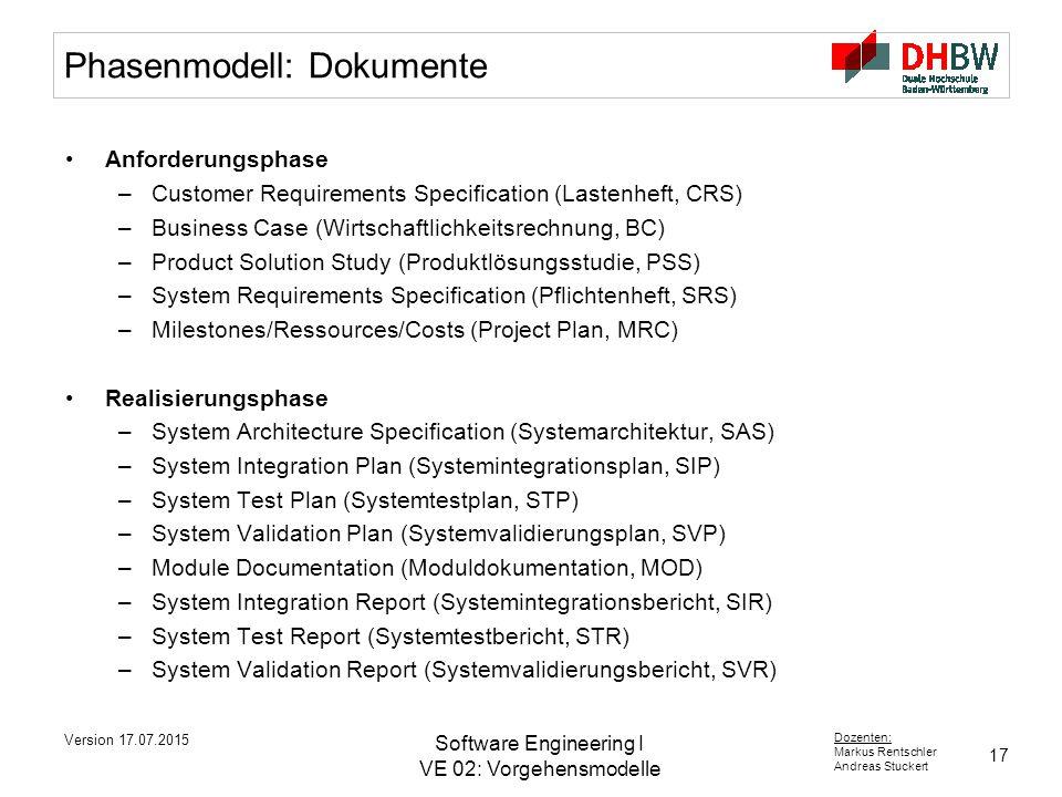 Phasenmodell: Dokumente