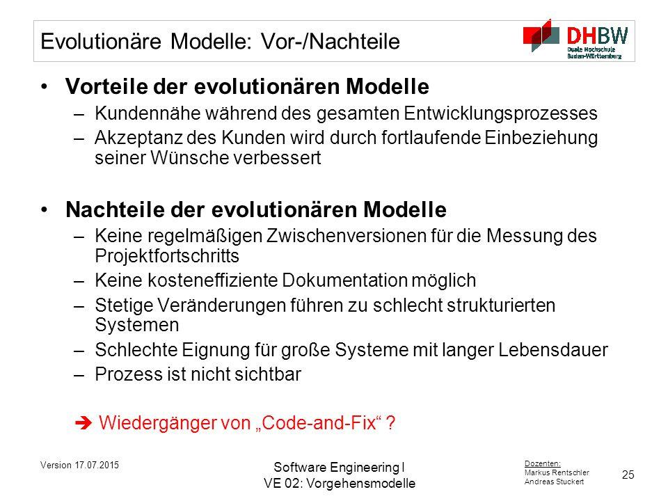 Evolutionäre Modelle: Vor-/Nachteile