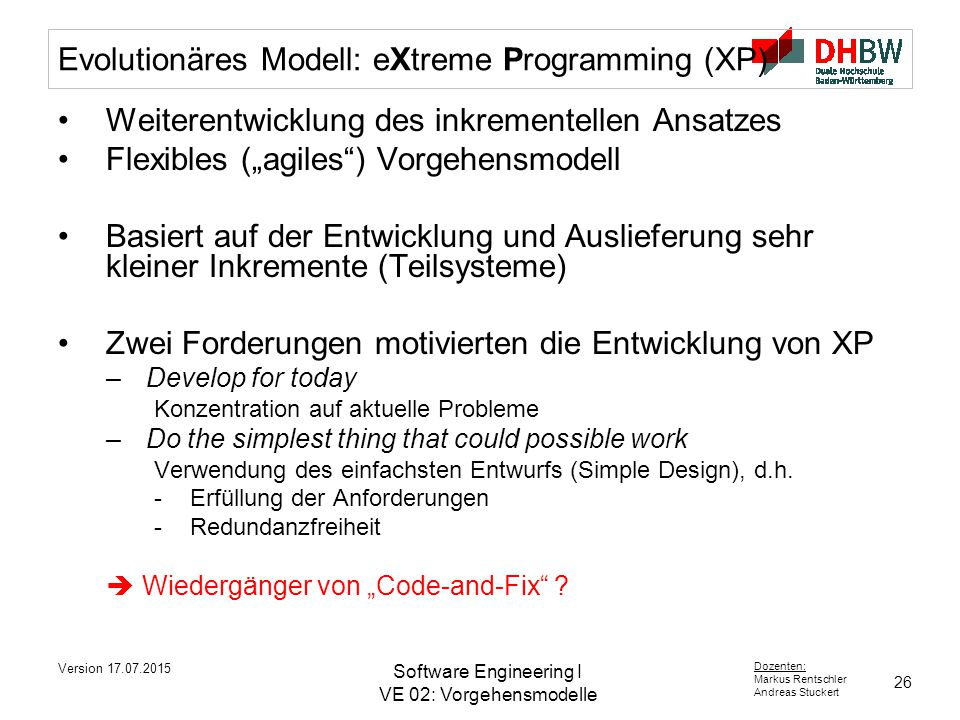 Evolutionäres Modell: eXtreme Programming (XP)
